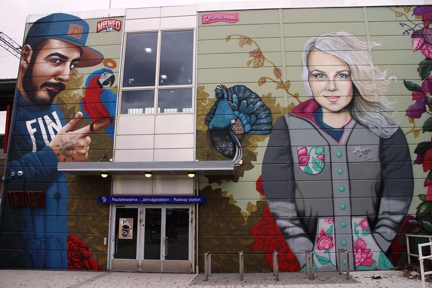 Portugalilaisen graffititaiteilija MrDheon maalaama miesfiguuri vasemmalla ja Salla Ikosen naisfiguuri oikealla, teokset valmistuivat syyskuussa 2016. Kuva: KivaaTekemistä.fi