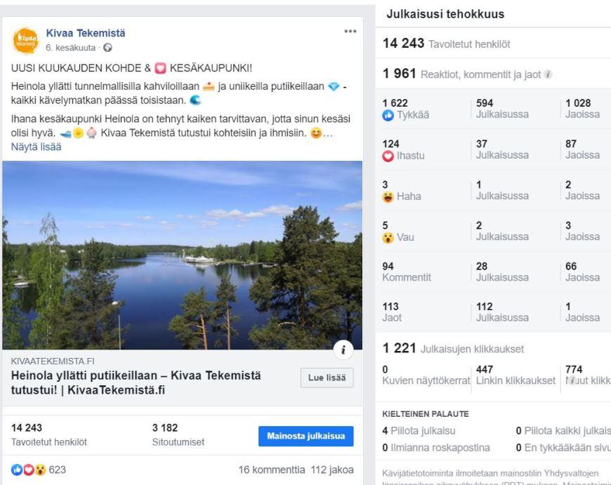 Facebook-kuvaleike kertoo, kuinka Heinola-julkaisun