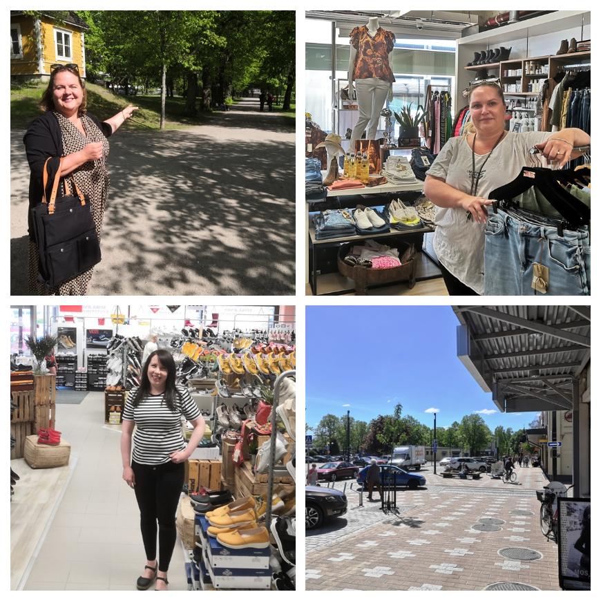 Here you can see Karoliina from Visit Heinola (left up), Hannamari from Roosamari clothes shop (right) and Jenni from Kenkä-Jenni (Shoe-Jenni) serving you. Photos: LikeFinland.com