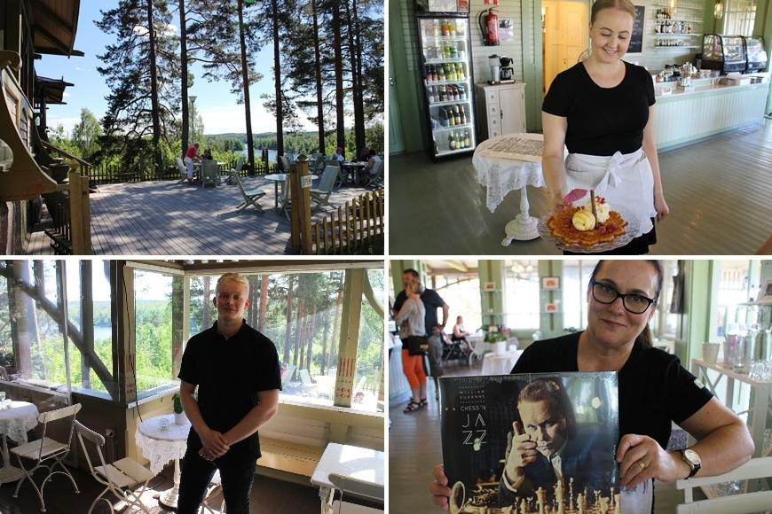 What a view from Harjupaviljonki terrace! Owner Anne Koski below on right. Photo: Likefinland.com