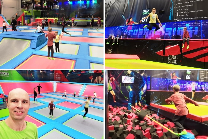 Fun with family! Freestyle area with normal and wall trampolines, yellow giant tramps and a challenging Slackline! Photo: LikeFinland.com